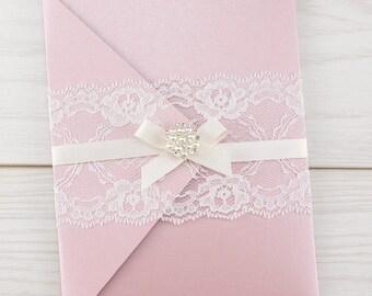 SAMPLE * Evelyn Lace Pockefold Wedding Invitation