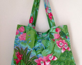 Totebag XL Club Tropicana from the 70 s recycled vintage fabrics!