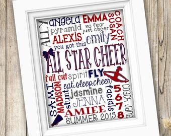 Cheer Subway Art ~ PRINTABLE Cheer Team Gift ~ Personalized Custom Cheerleading ~ DIGITAL Cheerleading Cheerleader Cheer Coach Gift Names