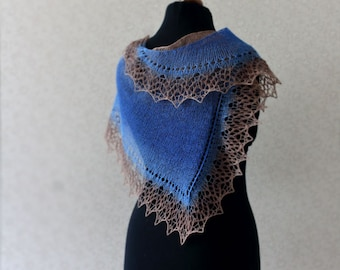 Wool scarf - Handknit lace scarf in brown and blue colors