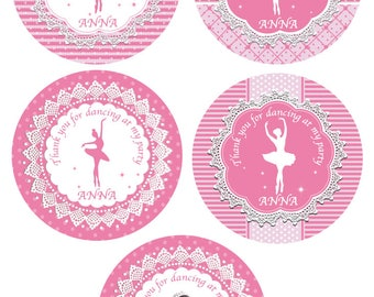 SALE - Gift Tags / Favour Thank You Cards Ballerina Dance party printable personalised party birthday label digital