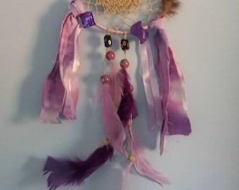 "6"" Lilac Dream Catcher Woven with Hemp"