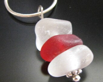 Sea Glass Jewelry, Genuine Beach Combed Rare Red Sea Glass Jewelry Necklace - Sterling Silver, Jewellery