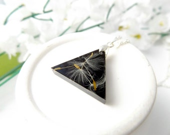 Dandelion seed geometric triangle necklace - botanical jewellery - gift for her - natural jewellery - black necklace
