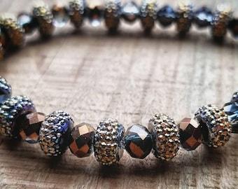 Earth tones beaded druzy and crystal strech bracelet