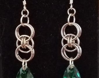 Handmade Chainmaille Helm Weave and Swarovski Crystal Earrings