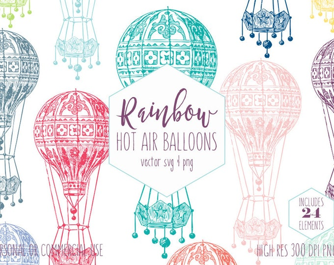 HOT AIR BALLOON Clipart for Commercial Use Rainbow Color Clip Art Fun Airships Vintage Ornate Hot Air Balloon Images Vector Digital Graphics