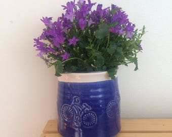 4 inch Planter, Gift for Gardener, Cactus Planter, Herb Planter, Bicycle, Blue Planter, Succulent Pot, r, in Stock, Ready to Ship