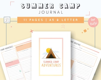 Kids Summer Camp Journal | Girl Scout Camp Stationery | Camp Notes | Fill In Letter | Boy Scout Camping Stationary | Sleep Away Camp Journal