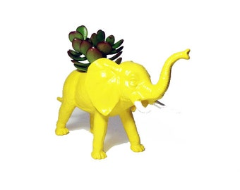 Up-cycled Yellow Elephant Planter