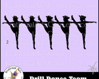 Drill Dance Team Silhouettes Pose 2 - with 1 eps & svg Vinyl Ready files and 1 png digital file and commercial license [INSTANT DOWNLOAD]