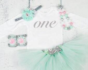 FIRST BIRTHDAY Baby Girl Tutu Outfit,My 1st Birthday Bodysuit,Mint Silver Pink ONE Cake Smash Photo Shirt,Headband,Necklace,Sandal