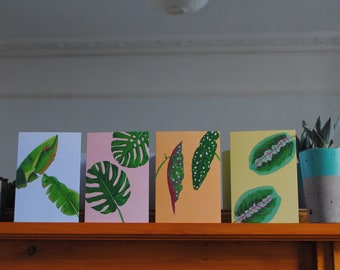 Pack of 4 A6 TROPICAL LEAVES colourful greetings cards