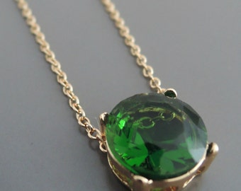 Emerald Necklace - Gold Necklace - Green Necklace - Layered Necklace - Crystal Necklace - Boho Necklace - handmade jewelry