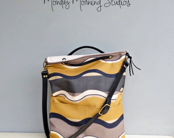 Stripe Tote Bag in 2 Sizes, Choose Your Leather Strap Length, Striped Convertible Tote Bag, Grey and Mustard Crossbody Purse, Summer Purse