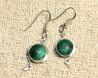 BO213 - earrings 925 sterling silver and Malachite 10mm round stone-