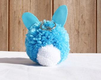 Handmade blue pom pom bunny keyring, Easter bunny, Easter present, Sparkly keyring, Pom Pom, Blue and pink