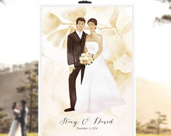 Happily just married Modern Guest Book print - with Painted Couple Wedding Portrait Illustration