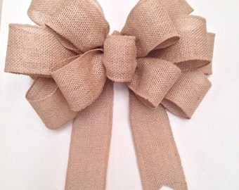 12 inch wired edge Burlap Bow, big wreath bow, wedding bow, rustic burlap bow, door bow, burlap wreath bow, decor bow, gift bow burlap bows
