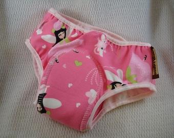 PREMIUM - Organic Cotton Toddler Girls Training Underwear with Waterproof Pad - Fairies 2781