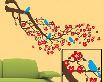 Striking 4ft Cherry Blossoms Tree Branch Wall Decal, Nature Home Decor Floral with 4 Birds