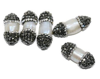 Lovely bead Fresh Water Pearl With Pave Rhinestones Spacer (24mm)