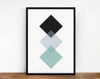 Geometric Art, Rhombus Wall Art, Squares Print, Geometric Wall Decor, Abstract Art, Printable Art, Pastels Digital Print, Linear Squares Art