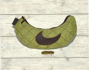 Personolised Makeup Bag/Purse in Lime Green Wool Mix Fabric
