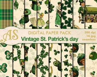 Digital Vintage St. Patrick Day Pack, 16 printable Seamless Scrapbooking papers, Patrick Digital Collage, Instant Download, set 166