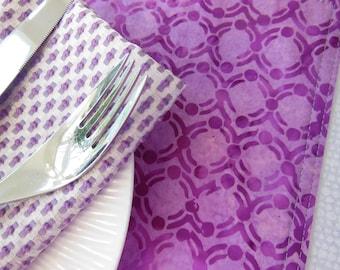 Purple Placemats - Bali Batik Placemats - Reversible Placemats - Orchid Placemats - Teardrop Placemats - Circle Placemats - Placemats w Dots
