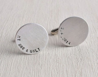 Cufflinks / Silver Stainless Steel Aluminum Cuff Links with  Personalized Initials