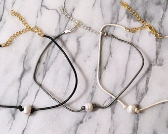 Pearl Choker on Leather Cord