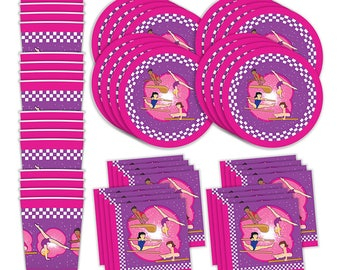 Gymnastics Birthday Party Supplies - Set of 16 Plates, Napkins, & Cups - Perfect For Any Gathering