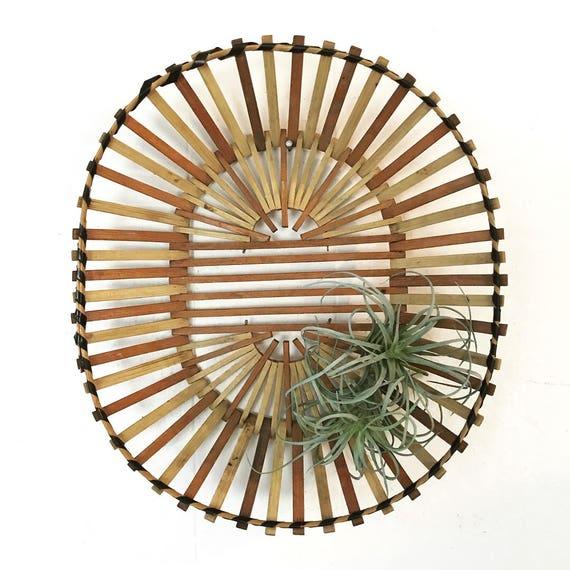 vintage wooden basket - oval slatted stick basket - centerpiece fruit bowl - boho wall decor