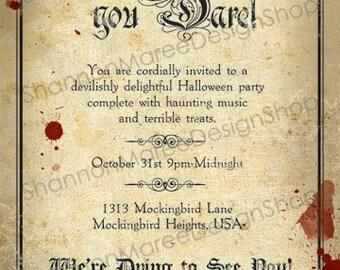 Vintage Style Halloween Party Invitation