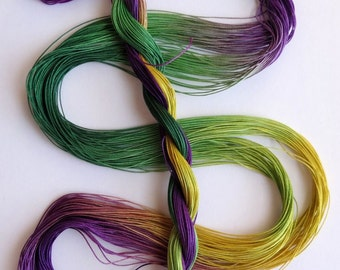 "Size 50 ""Mardi Gras"" hand dyed thread 6 cord cordonnet tatting crochet cotton"