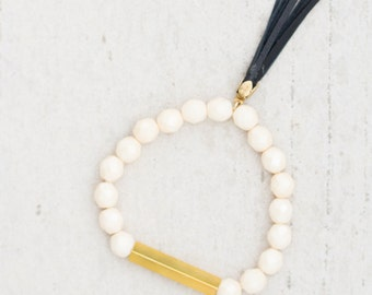 Soft White  Beaded Bar Bracelet, Off White tassel bracelet, Stretchy tassel Bracelet
