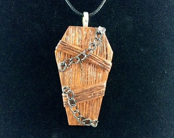 Chained Coffin Pendant Necklace