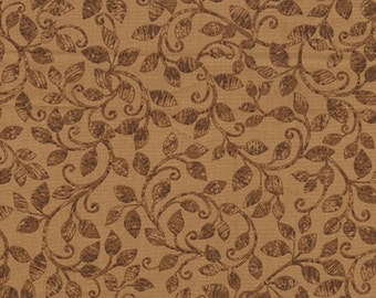 Leaf Into Autumn Scroll Brown from Benartex By The Yard