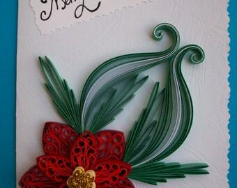 Handmade Cristmas card, Holiday Card, Xmas card, Poinsettia Handmade Christmas Card, Merry Cristmas card, Quilling card, Paper quilling card
