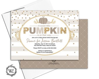 pumpkin theme baby shower invitation gender neutral, fall baby shower invites, beige, and gold, stripes, confetti - PRINTED - WLP00742