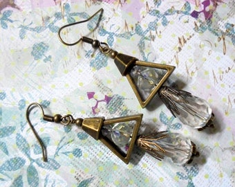 Crystal and Brass Boho Earrings (3685)