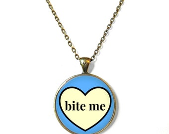 Pastel Goth Blue and Yellow Conversation Heart BITE ME Necklace - Pop Culture Anti Valentine's Day Jewelry - Funny Soft Grunge Pendant