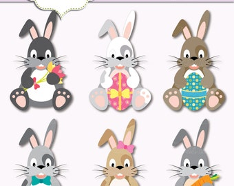 """Easter Bunnies Clipart. 6 Easter bunny. Grey rabbit with egg, carrot. 6"""" Printable Easter Bunnies. Grey, white, brown. MissAngelClipArt"""