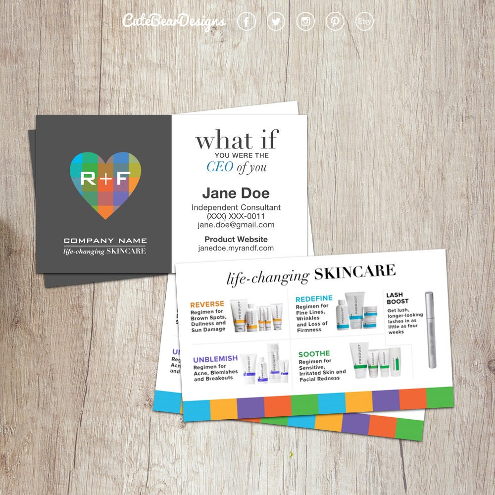 Rodan and Fields Business Cards R and F Cards RF Rodan