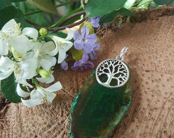 Green Roots, Agate & Tree of Life Pendant