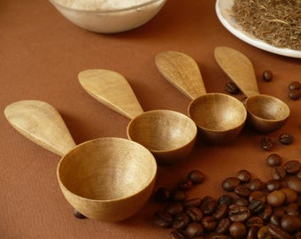 Walnut wood kitchen measuring set, wooden measuring spoons, measuring scoops, wood spoon set, kitchen scoops