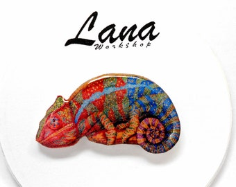 Chameleon brooch colorful chameleon, chameleon jewelry, chameleon clay, lizard brooch, animal jewelry, chameleon on the tree