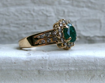 Vintage 14K Yellow Gold Pave Diamond and Emerald Halo Ring - 1.48ct.