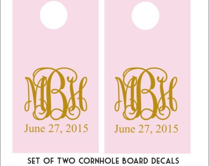 Monogram Cornhole Decals Set of Two Cornhole Decals DIY Wedding Decals DIY Cornhole Boards Pink and Gold Wedding Monogram Personalized